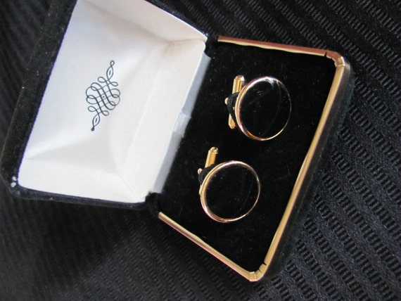 Pair of Mens Black and Gold Cuff Links in Gift Box - Like New