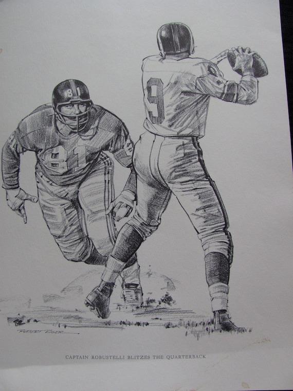 Vintage Football Print Poster Sketch - CAPTAIN ROBUSTELLI -  11 x 14 - Circa 1960