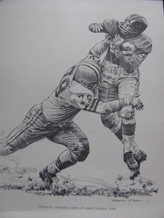 Vintage Football Print Poster Sketch - Charley Conerly -  11 x 14 - Circa 1960