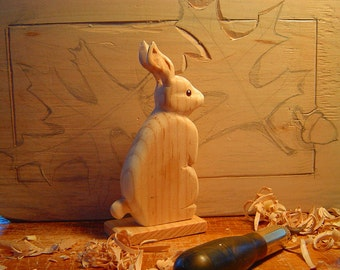 RABBIT DECOR- Rabbit on a Stand - Hand Carved - Ready to Finish Your Way - by Will Kay Studios