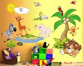 Original Wall Decal for Your Kid's Nursery Room - Animals MEGA XL - 21 Funny Colorful Children Wall stickers