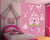 Original Wall Decal for Your Kid's Nursery Room - Fairies MEGA XL - 9 Pinkish Children Wall stickers