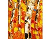 Small Original, Small Abstract, Impasto Forest Painting, Aspen painting,Abstract Forest, Orange Painting, Orange Forest Impasto Painting