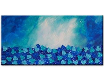 Blue Abstract painting, Original blue art, Blue Flowers, Blue landscape, Large Blue Painting, abstract painting, blue landscape, impasto