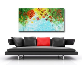 Blue abstract forest, Large Blue Forest, Abstract Impasto Forest, Original Modern Forest Large Impasto Oil Painting 48x24 by Helen