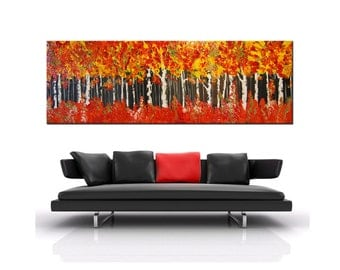 Abstract painting, Orange Forest, birch trees Painting, aspen birch Impasto Painting, Forest Palette Knife Oil Abstract, free shipping