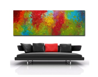 Large Abstract Oil Painting, 6 Feet ,Original Modern Abstract, Large Abstract  Painting, 72x24 ready to hang, red blue green painting