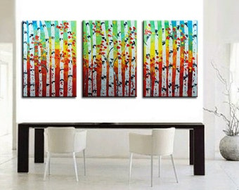 Forest large painting, Aspen painting, Tree Oil Painting, tree painting, wall art, wall decor, wall hangings, painting canvas, zen painting