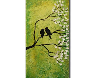 Green Art Painting Abstract Original Modern Large Bird Painting,  Impasto Tree Birds Painting , Heavy textured, Impasto Flowers