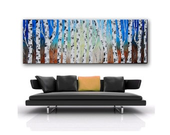 Blue Birch Forest, blue Painting, Textured Forest, Impasto Forest, Blue Trees Birch forest, Made to order, large aspen trees, blue trees