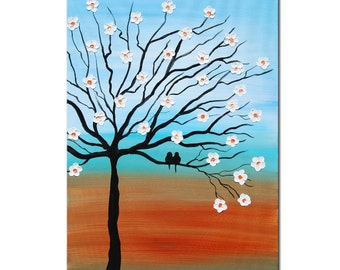 ORIGINAL Tree Art, Love Birds, Abstract Large Impasto, Palette Knife, Textured Painting, Abstract Painting, Large tree painting,family birds