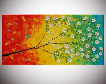 Art painting Abstract Original Modern Large Abstract  Painting 24x48 - Textured Impasto Flower Tree Painting by Helen