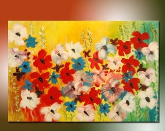 Modern painting, Painting flowers Field, Original Modern, Abstract Flowers, Large Painting, landscape painting, colorful painting
