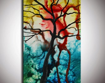 Art painting Original Modern Abstract Colorful Tree Painting, abstract tree, green blue red art, original gift, original painting