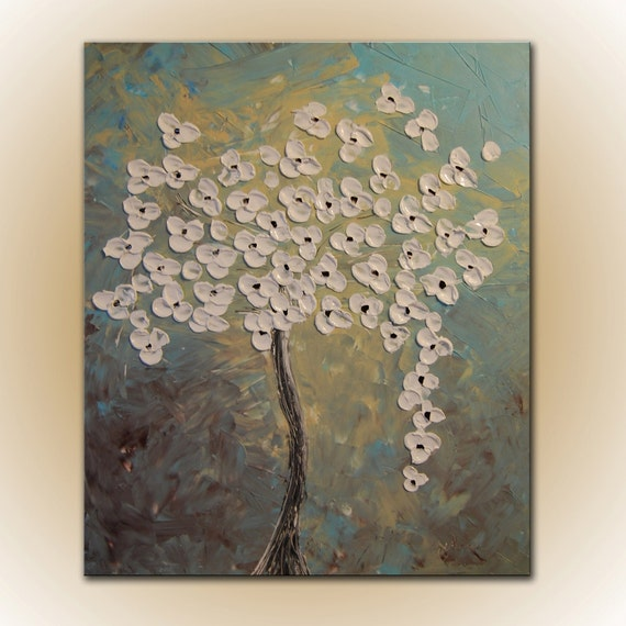 Original Modern Abstract Flowers Large Painting 36x30 by Helen