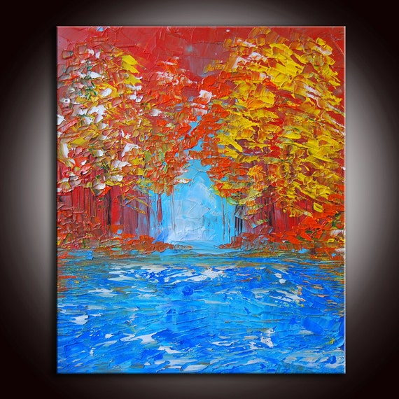 Original Modern Abstract Textured Impasto Large Forest Painting 24x20 by Helen - Impasto Painting
