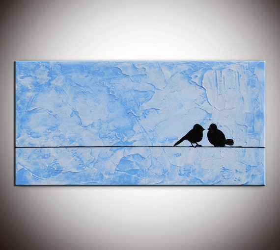 Original Modern Abstract Large Abstract  Painting - Textured Impasto Birds on Wire Blue Painting