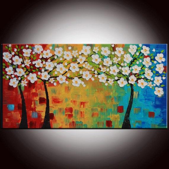 Original Large Tree Painting Multicolor Art White Cherry Blossom Impasto Textured Landscape 24x48 - Free Shipping