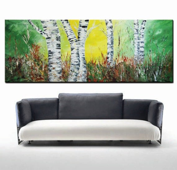 Art Painting Abstract, Forest Painting, Aspen Trees Painting, Original Modern Abstract Textured Impasto- Large Forest Painting, 6 feet