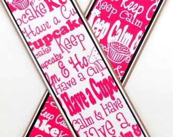 CLEARANCE- Cupcakes: Paper Bookmarks Set of 2- approx 2 x 7 1/2 inches