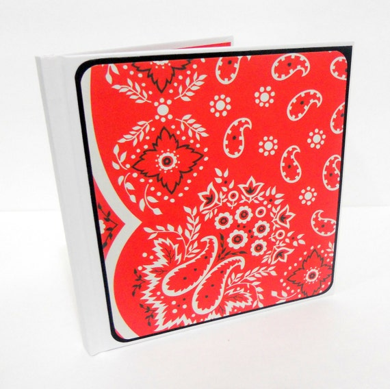 Hardcover Journal, Mini Journal, Hardcover Notebook, Altered Notebook, Altered Journal: Red Bandana