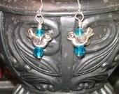 FREE SHIPPING Silver Bird Earrings