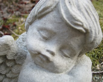 Angel Sleeping, Cherub Cast In Stone, Small Concrete Cement Angel Statues.