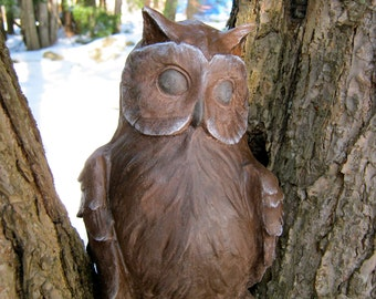 Owl Statue, Concrete Brown Owl, Garden Statues, Cement Owls, Owl Figure, Owl Garden Decor, Orion The Owl.