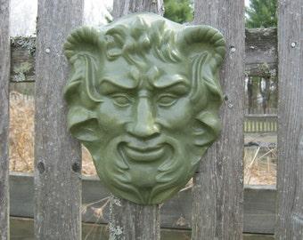 Green Man Garden Plaque, Horned Green Man, Garden Art, Garden Faces, Garden