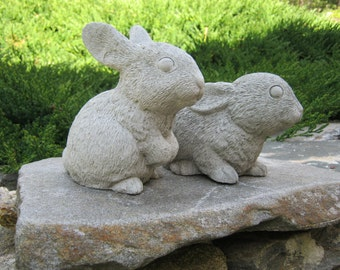 Rabbit Statues, Garden Rabbits, Garden Bunnies, Concrete Rabbits, Rabbit  Garden Decor,