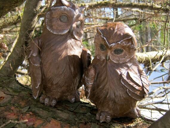 Owl Statue Concrete Owl Painted Stone Owl Concrete Cement