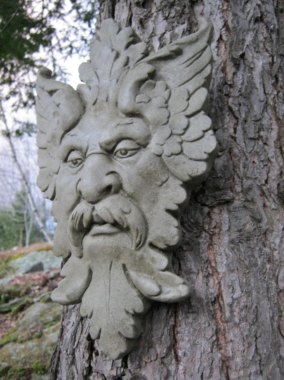 Green Man Concrete Cement Garden Face Terra Cotta Color