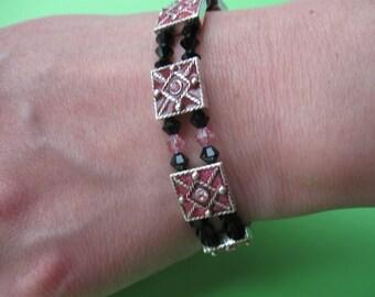 Pink and Black Crystal bracelet, Swarovski Crystal and Silver Bracelet, Chunky Bracelet, Jet Crystal Bracelet, Bracelet Gift Set