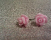 Cotton Candy resin rose earrings