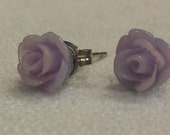 Purple resin rose earrings