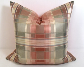 SALE - Cameo Pink & Green Pillow Cover, Decorative Peach Plaid Throw Pillow Case, Coral Sage Salmon Tartan Check, 18 inch