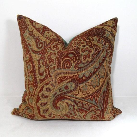 SALE - Paisley Pillow Cushion Cover - Decorative Red Green - Burgundy Aqua - Rust Brick 18 inch