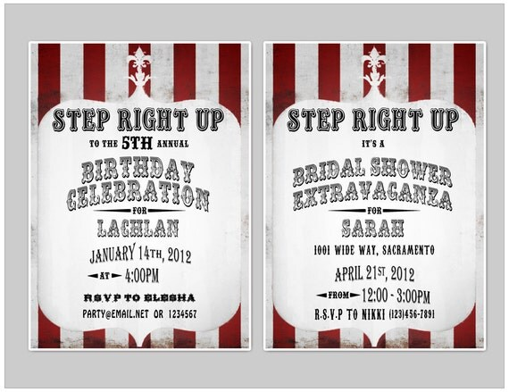 Vintage Circus 5x7 Invitation - Carnival - Party Printable Decorations - PERSONALIZED