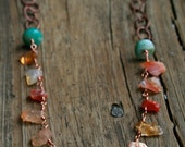 Fire Opal & Jade Vintage Copper Chain Necklace