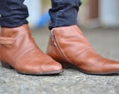 80's Brown Leather Flat Ankle Boot (Size: 9.5)
