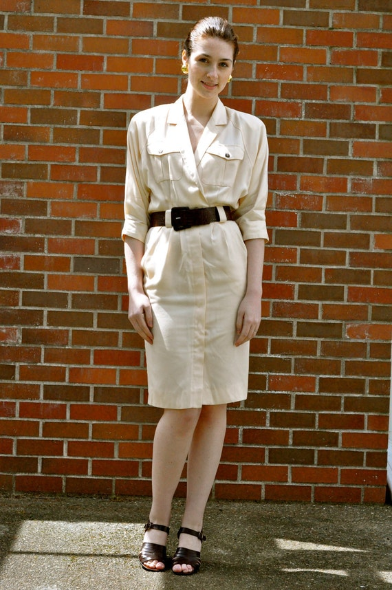 80's Safari Style Ivory Khaki Shirt Dress & Brown Embossed Belt (Size: Medium/Large)