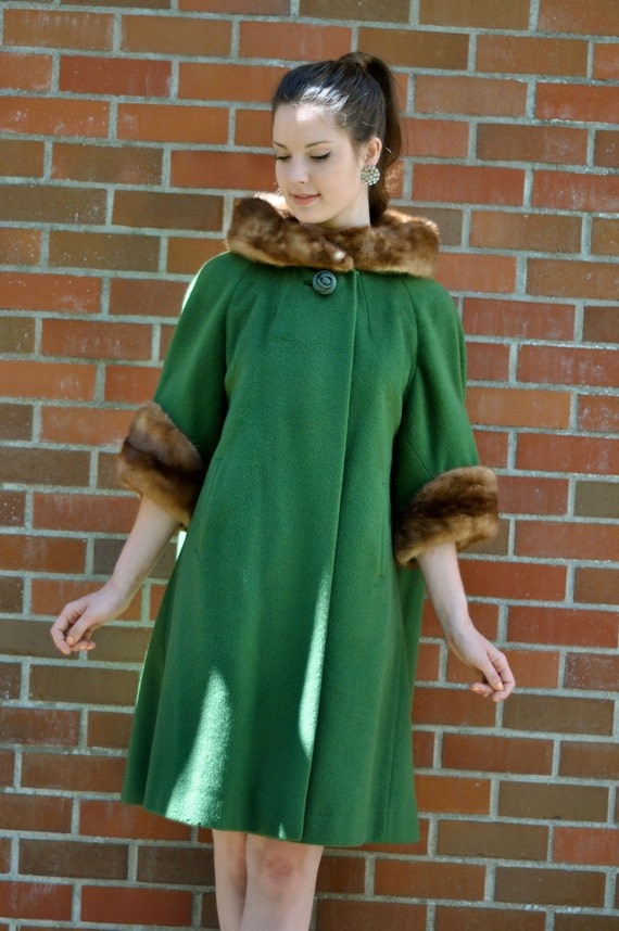 Late 50's 'Jackie O' Forest Green Wool Coat with Mink Cuff & Collar (Size: Small/Medium)