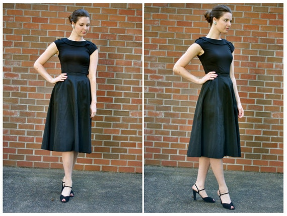 50's Black 'Audrey' Circle Skirt (Size: Small)