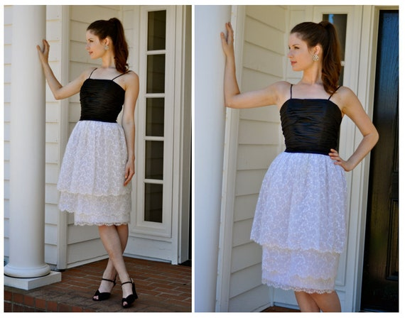 Late 50's Couture Jacques Heim Spaghetti Strap Black/White Party Dress with Lace Skirt & Ruched Top (Size: Medium)