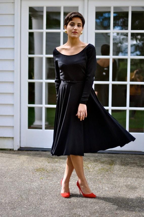50's Audrey Hepburn Style Rayon Crepe Circle Skirt, Little Black Dress (Size: XSmall)