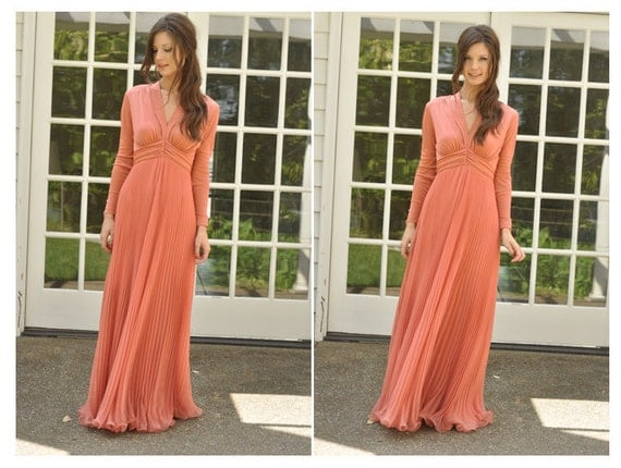 RESERVED FOR BRIDGETT - 70s Peach Empire Maxi Dress with Sheer Pleated Skirt (Size: Medium)