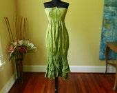 Tie Dye Maxi Long Skirt or Dress Hippie Bohemian Two Tone Beach Summer Sundress in Greens - Last One