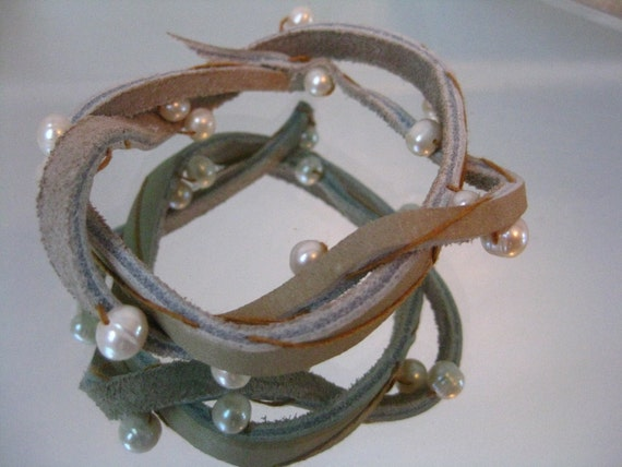 Rugged Romance - Leather and Pearl Adjustable Bracelet