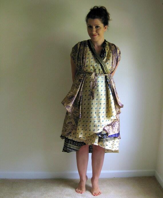 Kashmir Magic Wrap Skirt Dress Indian Vintage Silk Sari