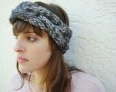 Braided Cable Turban Headband Hand Knit in Midnight